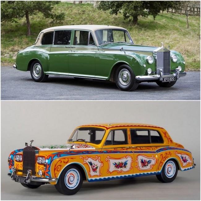 """Phantom V Limousine Park Ward (1962). A Landaulette karosszériás VI-osnál az utasok feje fölötti tetőrész nyitható volt. John Lennon 1965-ös autója modellként is megjelent, de az """"átpingált"""" Phantom V csak elméletben teremtett kultuszt, a gazdagok nem követték a zenész hóbortját"""