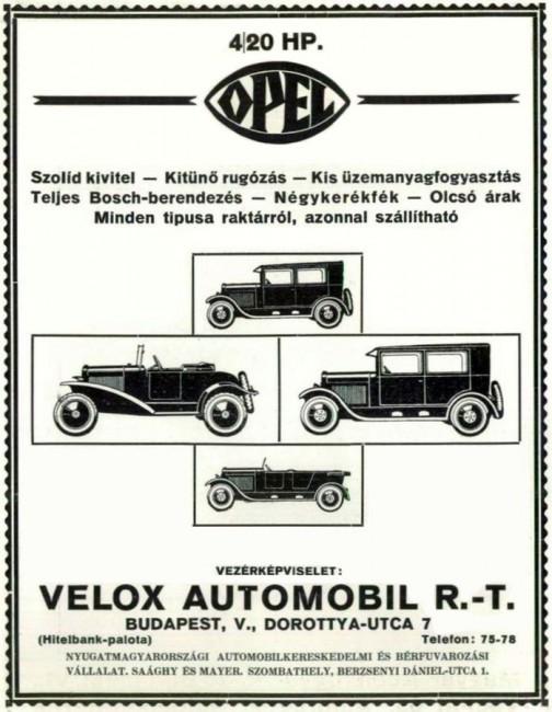 Akárcsak ma, a külföldi autómárkákat importőrök képviselték. A Velox több gyárral is kapcsolatban állt, ez egy Opel reklámja
