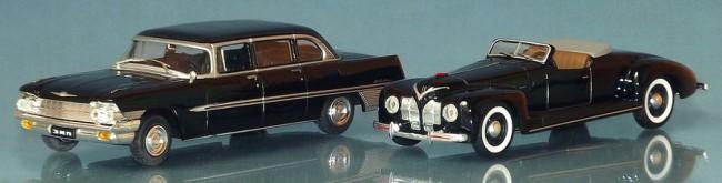 Balról az 1962-es ZIL 111G, mellette az egyetlen példányban készült ZISZ 101A Sport prototípus