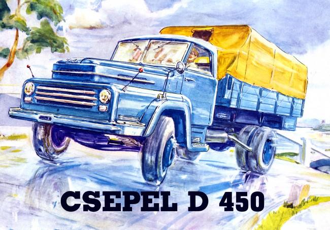 Kártyanaptáron is megjelent ez a Csepel D-450 grafika, de itt egy típusismertető címlapja