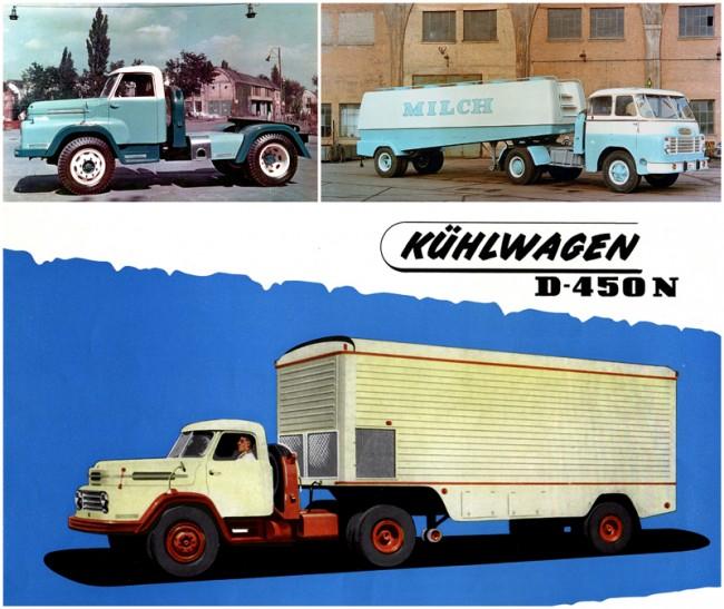 Alul: Csepel D-450 vontatta nyerges szerelvény, a buszgyár készítette a hűtős félpótkocsit. Balra: Sokszor nem foglalkoztak a részletekkel, a háttér a szigetszentmiklósi gyár egyik épülete, zavaróan belógó árnyék és vezeték, a háttérben munkások látszanak. Jobbra: Német piacra szánt Csepel tejszállító a gyárudvaron fényképezve, bal szélen egy ottfelejtett kerékpár, a vontató mögött talán egy targonca. Külföldi prospektushoz ritkán, hazai kiadványhoz gond nélkül felhasználtak ilyen fotókat is