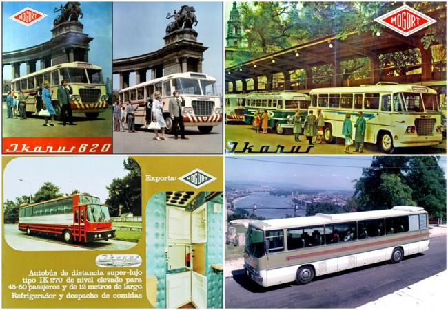 Bal felső: Eredeti Ikarus 620 reklámfotó a Hősök terén, tőle balra az ebből készített Mogürt plakát. Utóbbinál a Budapest iránytábla retusálással került a helyére. Jobb felső: Helyszín az Engels téri autóbusz állomás, de a buszok fordítva állnak a peron mellett. A Budapest táblákat itt is retusálták. Bal alsó: Igazi ritkaság: az 1975-ben bemutatott Ikarus 270 pusztán kísérleti kocsiként született, de a Mogürt ezzel is próbálta növeli a presztízsét a külföldiek előtt. Természetesen szó sem volt exportról, a buszt később elbontották. Jobb alsó: Panoráma a Citadelláról. Ide tucatnyi Ikarus típust felhoztak fotózni, ez éppen a Monacóban serleget nyert 250 SL tárgyalóbusz
